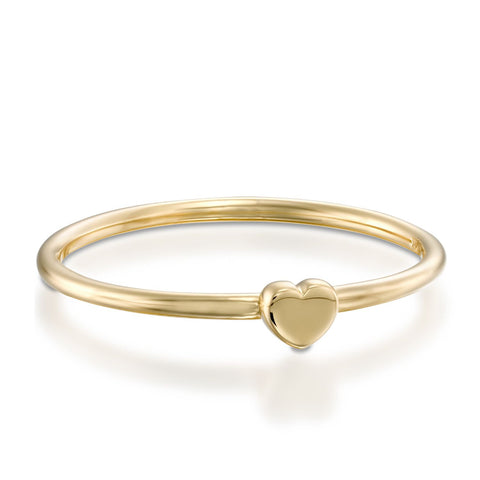 Small Heart Stackable Ring, 14k Yellow Gold
