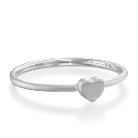 Large Heart Stackable Ring, 14k White Gold