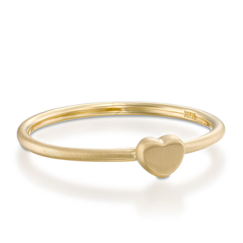 Large Heart Stackable Ring, 14k Yellow Gold