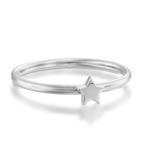 Star Stackable Ring, 14k White Gold