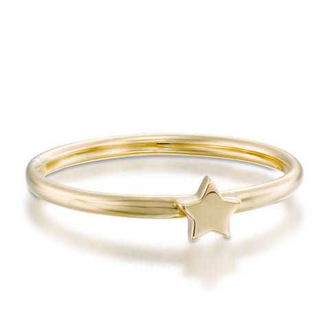 Star Stackable Ring, 14k Yellow Gold