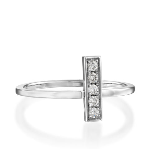 Baguette Pave Setting Round Diamond Stackabke Ring, 14k White Gold