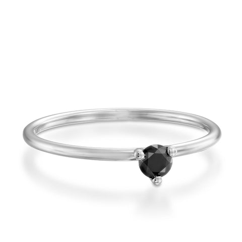 3 Prongs Black Diamond Stackable Ring, 14k White Gold
