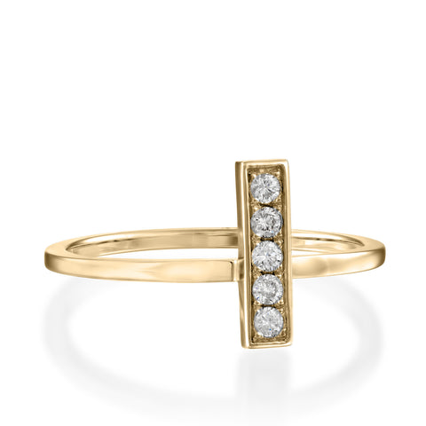 Baguette Pave Setting Round Diamond Stackabke Ring, 14k Yellow Gold