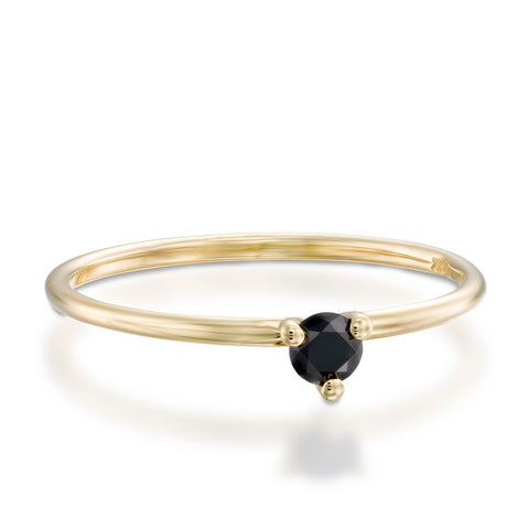 3 Prongs Black Diamond Stackable Ring, 14k Yellow Gold