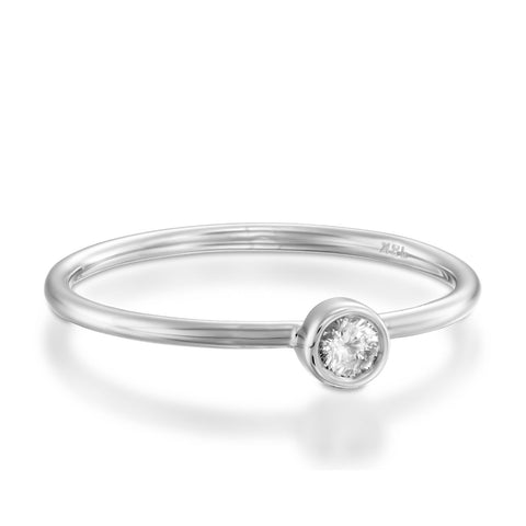 Small Bezel Setting Round Diamond Stackable Ring, 14k White Gold