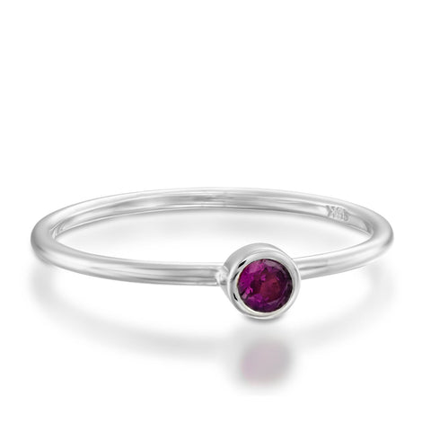 Small Bezel Setting Round Amethyst Stackable Ring, 14k White Gold