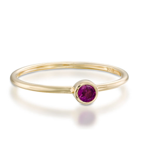 Small Bezel Setting Round Amethyst Stackable Ring, 14k Yellow Gold