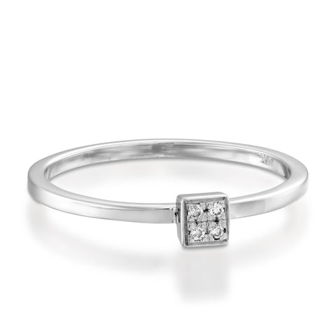 Square Pave Setting Round Diamond Stackable Ring, 14k White Gold