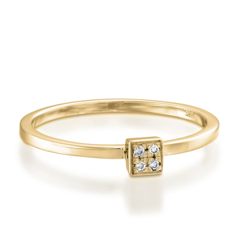 Square Pave Setting Round Diamond Stackable Ring, 14k Yellow Gold