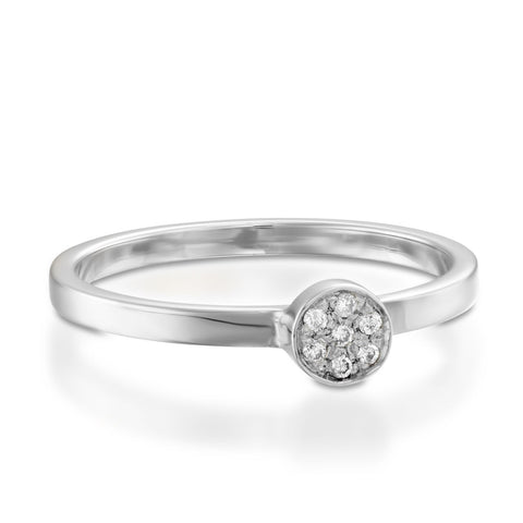 Round Pave Setting Round Diamond Stackable Ring, 14k White Gold