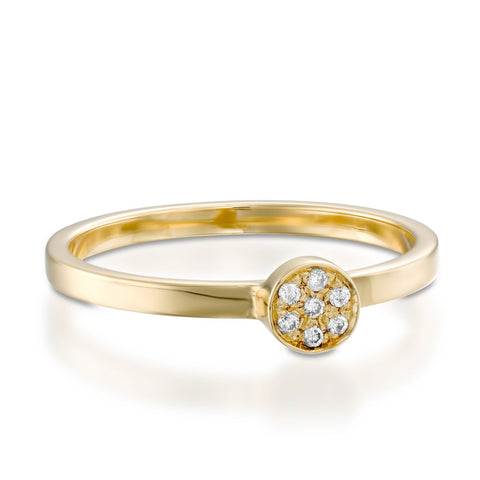 Round Pave Setting Round Diamond Stackable Ring, 14k Yellow Gold