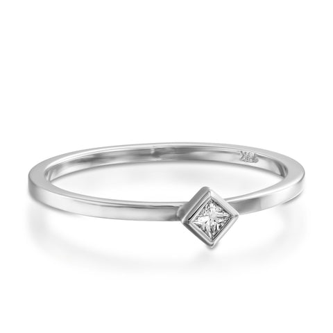 Princess Diamond Bezel Setting Stackable Ring, 14k White Gold