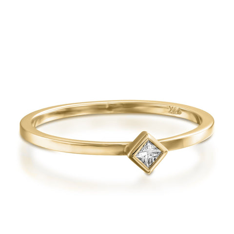 Princess Diamond Bezel Setting Stackable Ring, 14k Yellow Gold