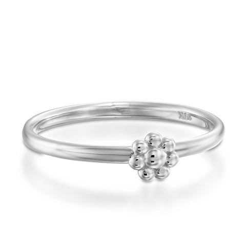 Gold Flower Stackable Ring, 14k White Gold