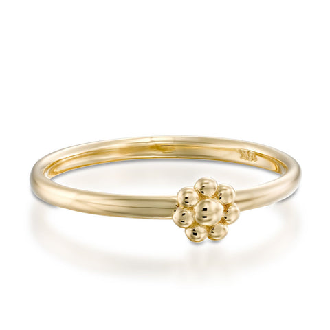 Gold Flower Stackable Ring, 14k Yellow Gold
