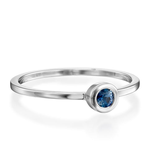 Round Bezel Setting 3mm Blue Sapphire Stackable Ring, 14k White Gold