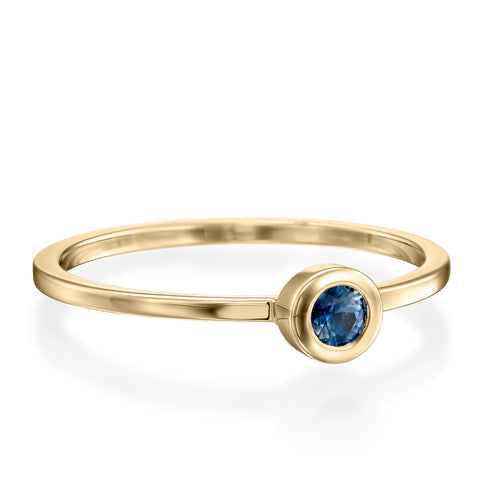 Round Bezel Setting 3mm Blue Sapphire Stackable Ring, 14k Yellow Gold