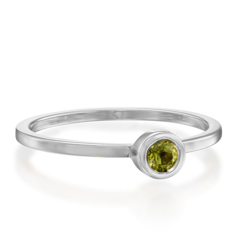 Round Bezel Setting 3mm Peridot Stackable Ring, 14k White Gold