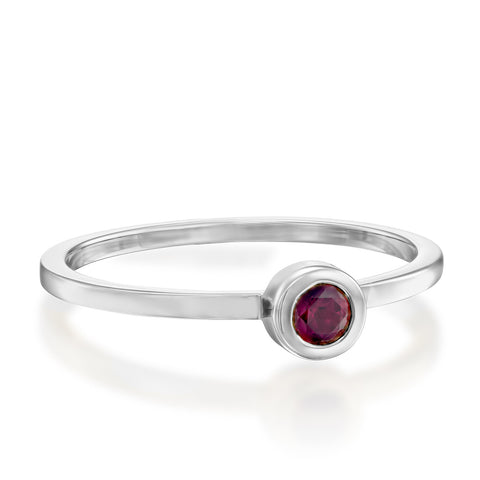 Round Bezel Setting 3mm Ruby Stackable Ring, 14k White Gold