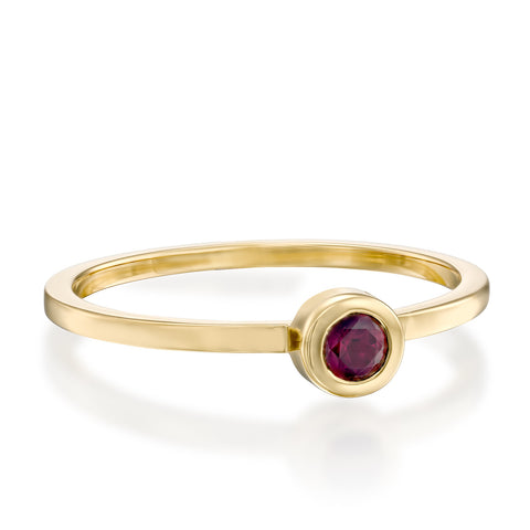 Round Bezel Setting 3mm Ruby Stackable Ring, 14k Yellow Gold
