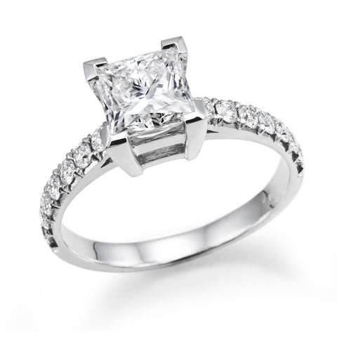 1.2 CTW Swarovski CZ Engagement ring Princess Brilliant Cut 14k White Gold