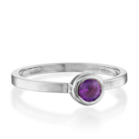Round Bezel Setting 4mm Amethyst Stackable Ring, 14k White Gold