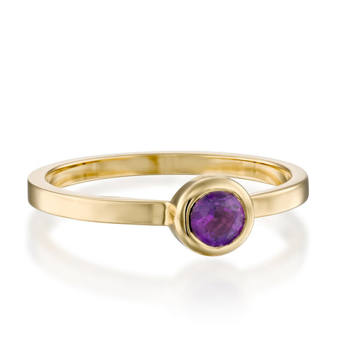 Round Bezel Setting 4mm Amethyst Stackable Ring, 14k Yellow Gold