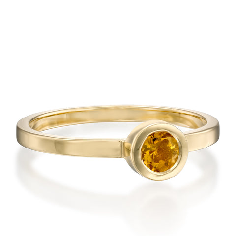 Round Bezel Setting 4mm Citrin Stackable Ring, 14k Yellow Gold