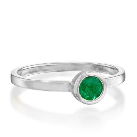 Round Bezel Setting 4mm Emerald Stackable Ring, 14k White Gold