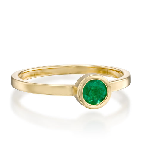 Round Bezel Setting 4mm Emerald Stackable Ring, 14k Yellow Gold