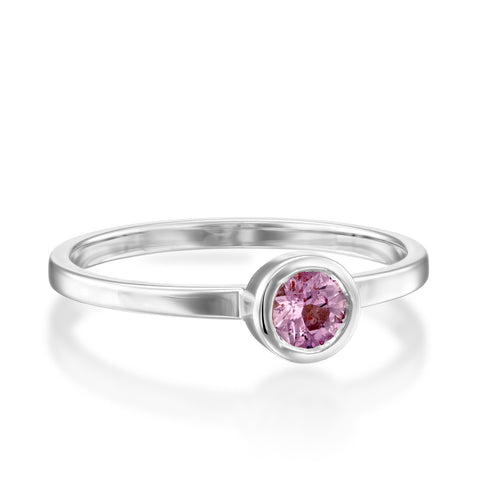 Round Bezel Setting 4mm Pink Sapphire Stackable Ring, 14k White Gold