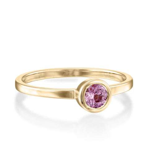 Round Bezel Setting 4mm Pink Sapphire Stackable Ring, 14k Yellow Gold