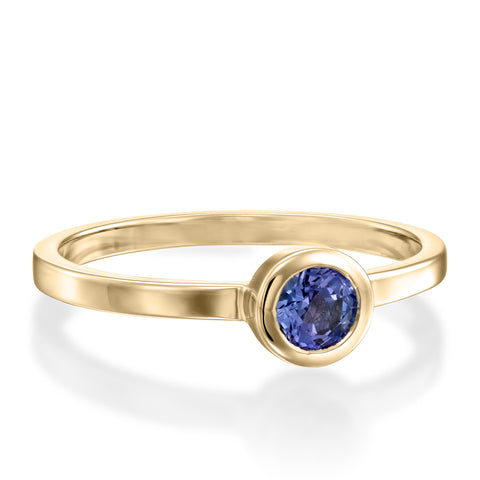 Round Bezel Setting 4mm Tanzanaite Stackable Ring, 14k Yellow Gold