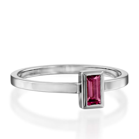 Baguette Solitaire Setting Rodolite Stackable Ring, 14k White Gold