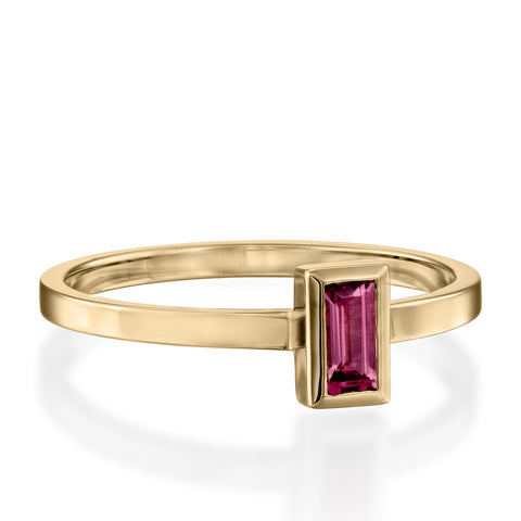Baguette Solitaire Setting Rodolite Stackable Ring, 14k Yellow Gold