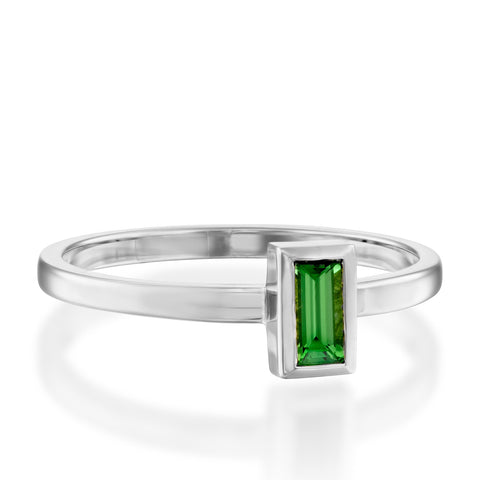 Baguette Solitaire Setting Chrome Tourmaline Stackable Ring, 14k White Gold