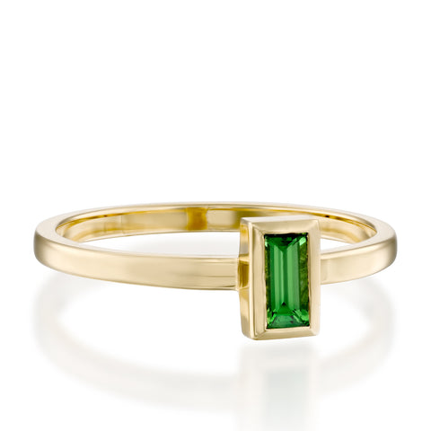 Baguette Solitaire Setting Chrome Tourmaline Stackable Ring, 14k Yellow Gold