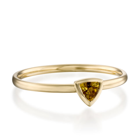 Trillion Bezel Setting Savanah Tourmaline Stackable Ring, 14k Yellow Gold