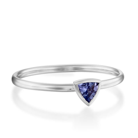 Trillion Bezel Setting Tanzanite Stackable Ring, 14k White Gold