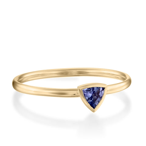 Trillion Bezel Setting Tanzanite Stackable Ring, 14k Yellow Gold