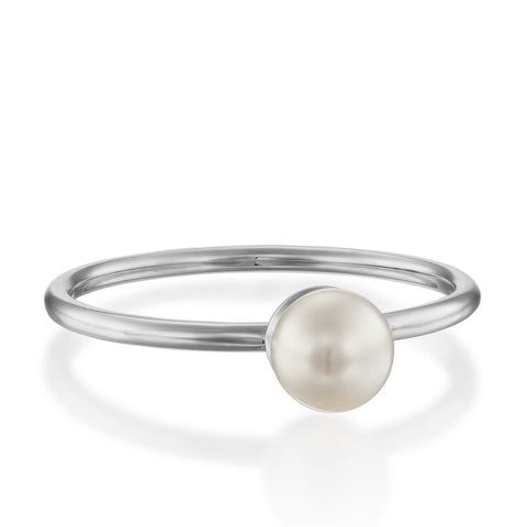 Pearl Solitaire Setting Stackable Ring, 14k White Gold