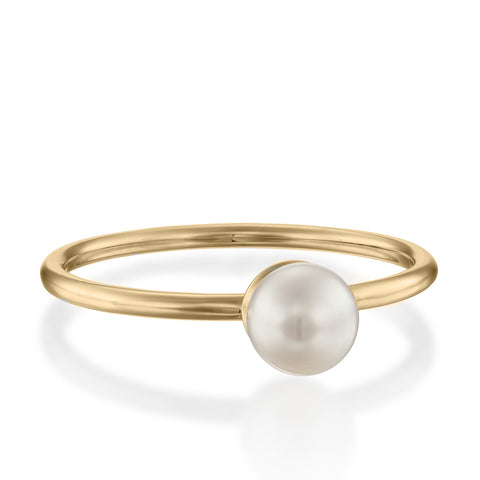 Pearl Solitaire Setting Stackable Ring, 14k Yellow Gold