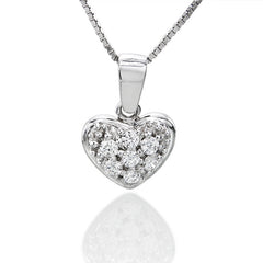 1/10 ctw. Round Diamond Heart Pendant in 14k White Gold