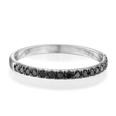 Updeck Black Diamond Stackable Ring, 14k White Gold