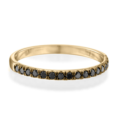 Updeck Black Diamond Stackable Ring, 14k Yellow Gold