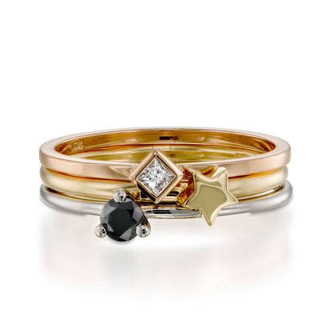 Black Summer Stack, 14k White, Yellow & Rose Gold