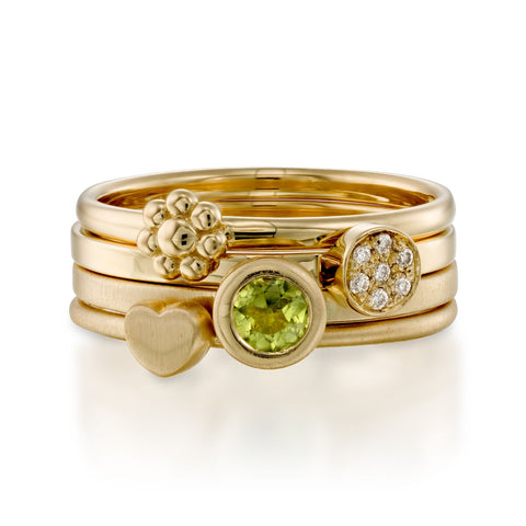 Green Love Stack, 14k Yellow & Rose Gold