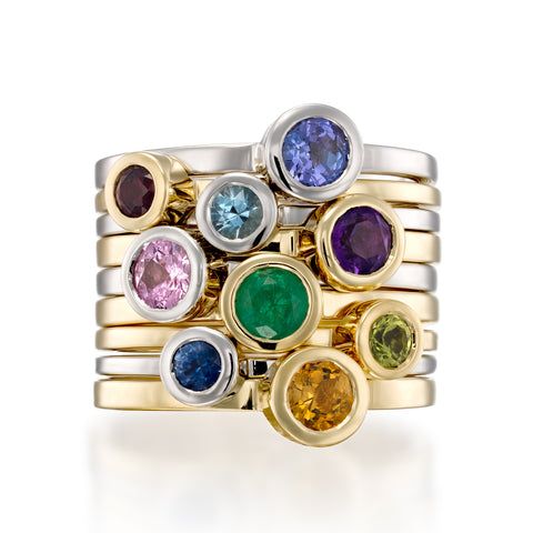 Round Rainbow Stack , 14k White & Yellow Gold