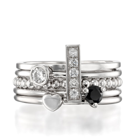 White Night Stack , 14k White Gold